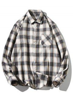 Turn-down Collar Button Up Plaid Shirt - Milk White Xs