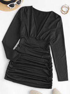 Gathered Side Fleece Lined Slinky Dress - Black L