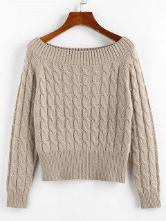 ZAFUL Solid Twist Boat Neck Sweater - Light Coffee M