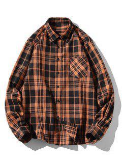 Plaid Zigzag Pattern Turndown Collar Shirt - Coffee M