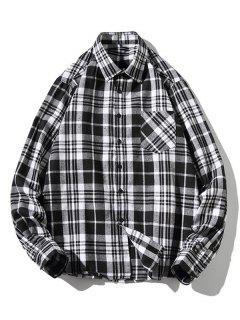 Camisa A Cuadros Estampado Zigzag Manga Larga - Blanco Xs