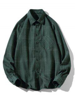 Stitching Design Plaid Shirt - Green S