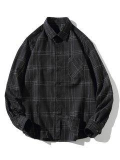 Stitching Design Plaid Shirt - Black Xs