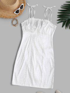 Vestido Bodycon Jacquard Laço Ombro Enrugado Bodycon Vestido Leopardo - Branco S