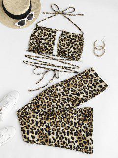 Leopard Print Cutout Two Piece Pants Set - Multi L