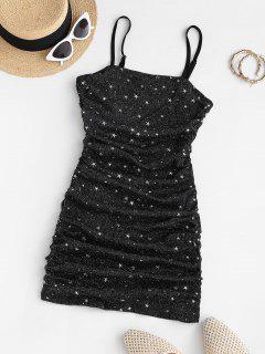 Glitter Star Gathered Side Mesh Slinky Dress - Black M