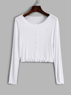 Ribbed Mock Button Butterfly Embroidered Crop T Shirt - White M