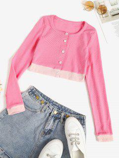 T-shirt Court Bébé Tricoté Bicolore En Jersey - Rose Clair M