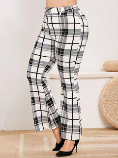 Plus Size Zip Fly Plaid Bell Bottom Pants - White 3x