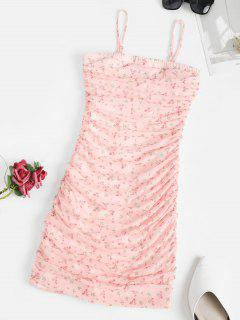 Ditsy Print Ruched Mesh Overlay Slinky Dress - Light Pink M