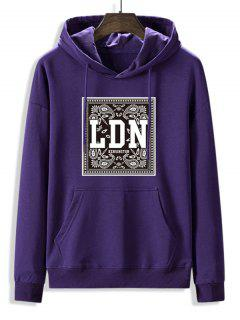 Front Pocket Paisley LDN Graphic Fleece Lined Hoodie - Purple Iris 2xl