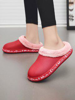 Letter Smile Face Pattern Plush Slippers - Red Eu 39