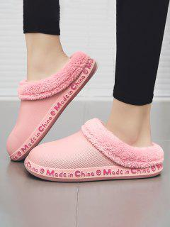 Letter Smile Face Pattern Plush Slippers - Pink Eu 38