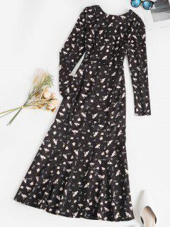 Ditsy Print Open Back Tie Maxi Mermaid Dress - Black M