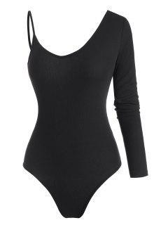 Ribbed Cold Shoulder Asymmetrical Collar Bodysuit - Black M