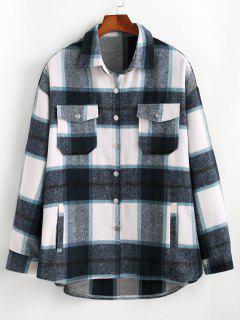Kariertes Muster Flap Tasche Hemd Jacke - Blau S