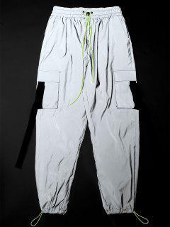 ZAFUL Toggle Drawstring Buckle Detail Luminous Cargo Pants - Platinum M