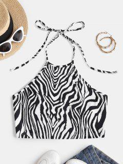ZAFUL Zebra Print Halter Crop Top - Black S