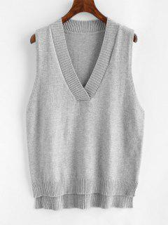V Neck Slit High Low Sweater Vest - Gray