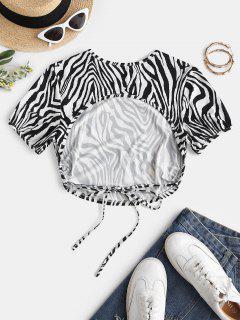 T-Shirt Stampata Zebra Senza Schienale Di ZAFUL - Nero L