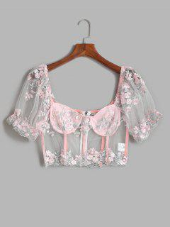 Mesh Sheer Embroidered Puff Sleeve Milkmaid Top - Light Pink M