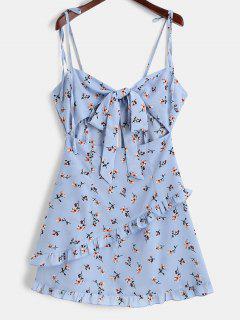Vestido Anudado De Tirante Fino Con Volantes De Flores - Azul Claro L