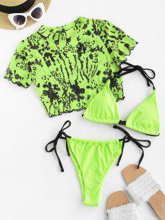 ZAFUL Contrast Strap Ribbed Leopard Mesh Three Piece String Bikini Swimwear - Green S