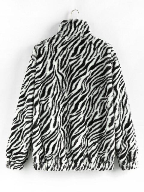 womens ZAFUL Zebra Pattern Faux Fur Fluffy Jacket - BLACK 2XL Mobile