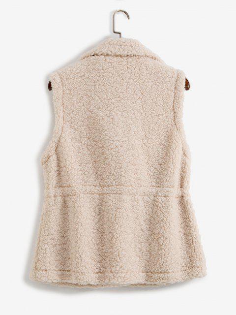 Manteau Teddy Taille à Cordon avec Poche - café lumière Taille Unique Mobile
