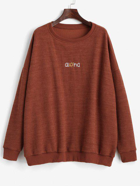 Letter Graphic Embroidered Drop Shoulder Sweatshirt - بنى M Mobile