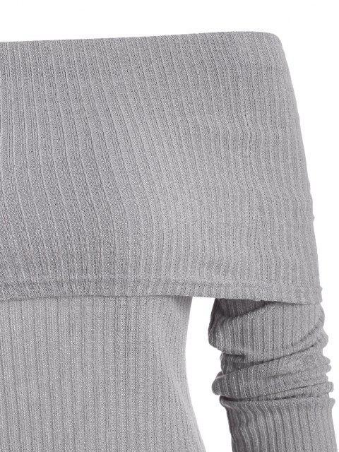 Blusa de manga curta fora do ombro com nervuras - Cinza claro M Mobile