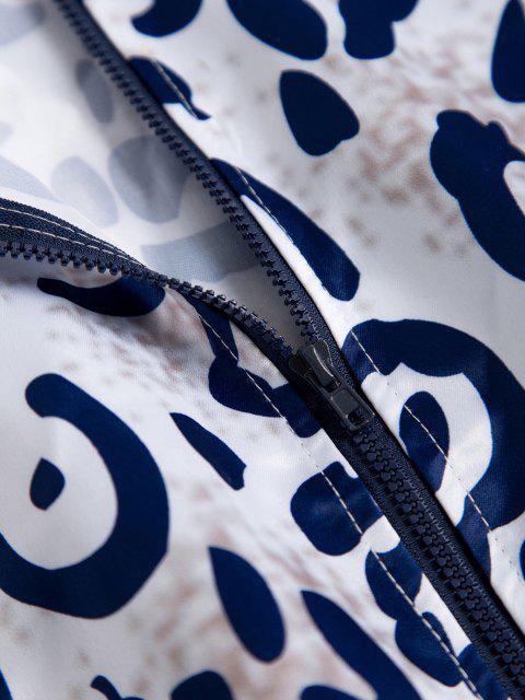 Leopard Geripptes Saum Tierdruck Reißverschluss Jacke - Multi S Mobile
