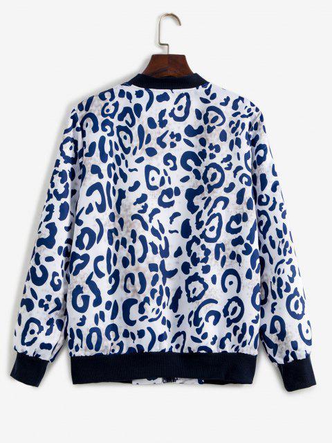 Leopard Ribbed Hem Animal Print Zipper Jacket - متعدد S Mobile
