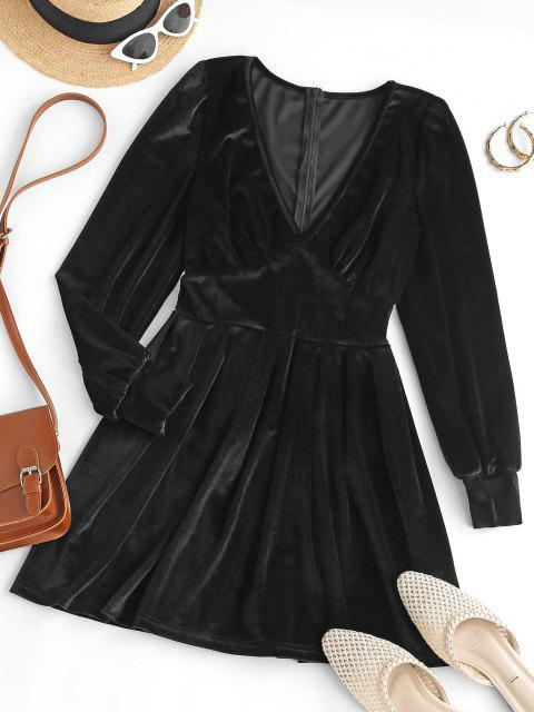 Mini Vestido Terciopelo Cuello en V - Negro M Mobile