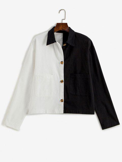Button Up Pockets Two Tone Jacket - أسود S Mobile