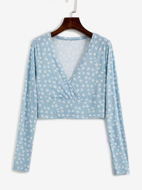 shops Ditsy Floral Ribbed Surplice Cropped Top - LIGHT BLUE L Mobile