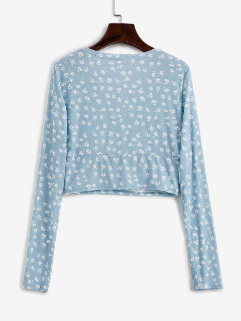 affordable Ditsy Floral Ribbed Surplice Cropped Top - LIGHT BLUE S Mobile