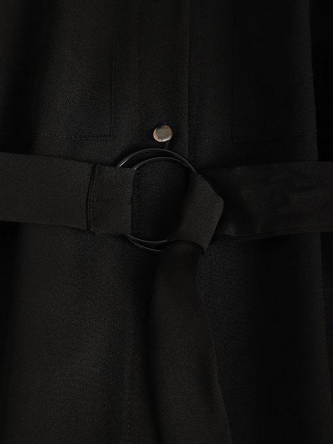 unique Belted Pocket Button Up Shirt Dress - BLACK M Mobile