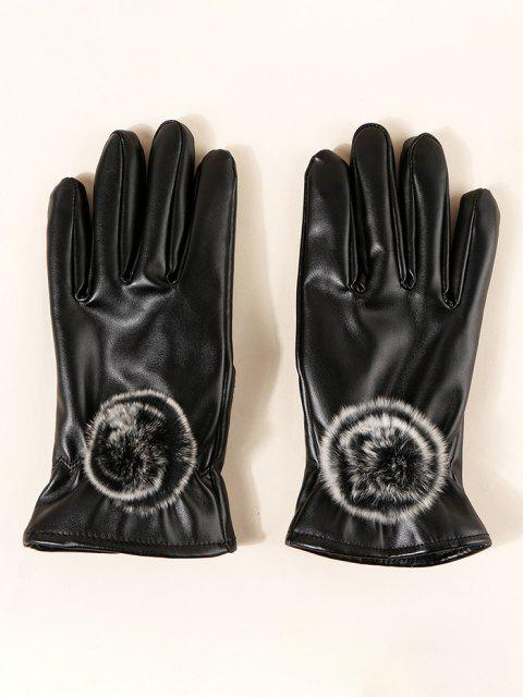 affordable Faux Fur Ball PU Gloves - BLACK  Mobile