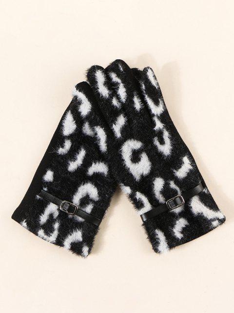 Flauschiger Handschuhe mit Schnalle und Leopardenmuster - Schwarz  Mobile
