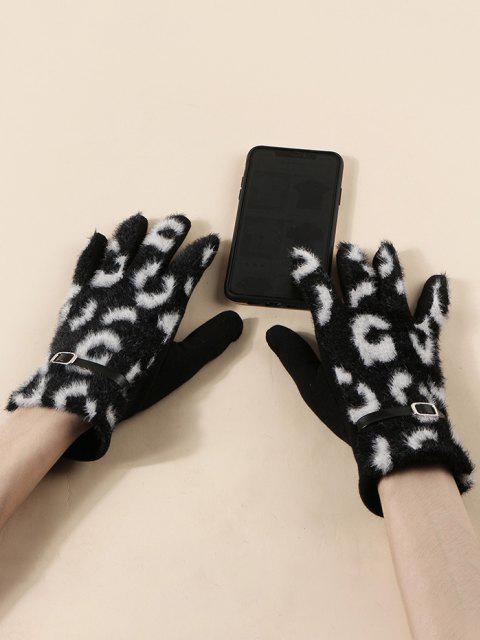 womens Buckle Leopard Print Fluffy Gloves - BLACK  Mobile