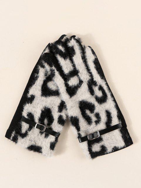 Flauschiger Handschuhe mit Schnalle und Leopardenmuster - Beige  Mobile
