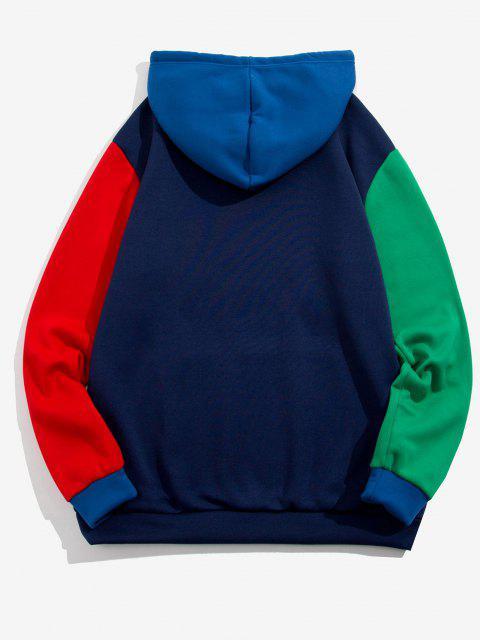 Kangaroo Pocket Contrast Fleece Hoodie - ازرق غامق XL Mobile