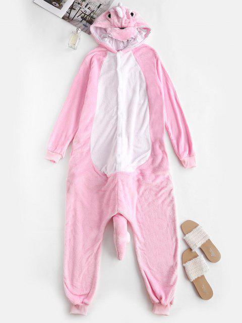 affordable Button Front Fleece Dinosaur Onesie Pajamas - LIGHT PINK M Mobile