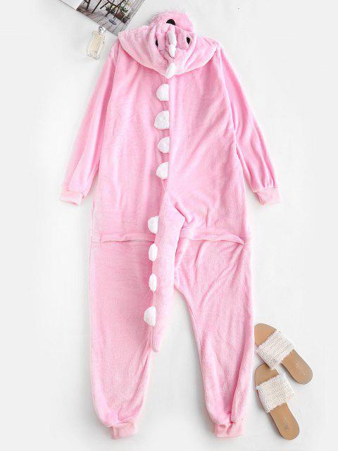 buy Button Front Fleece Dinosaur Onesie Pajamas - LIGHT PINK S Mobile