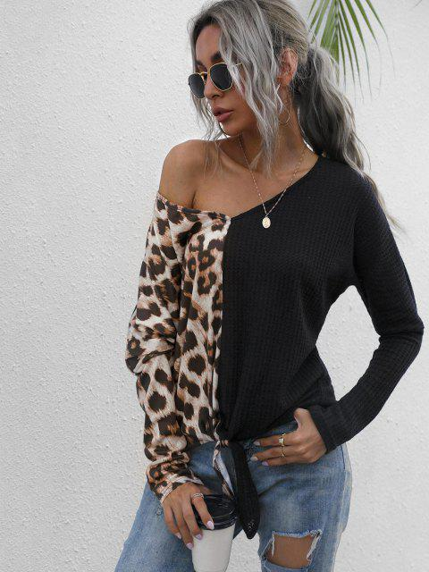 shops Leopard Panel Honeycomb Knit Batwing Sleeve Top - BLACK S Mobile