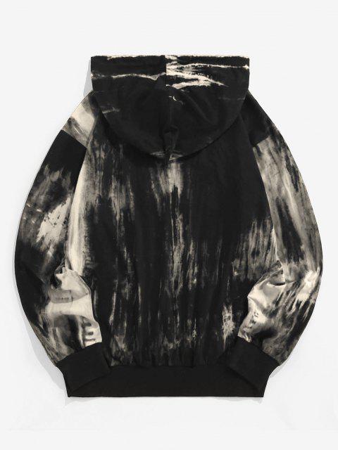 shop ZAFUL Tie Dye Print Drawstring Hoodie - GRAY GOOSE S Mobile