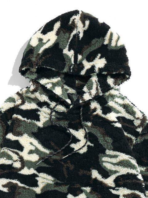 lady ZAFUL Camouflage Sherpa Fleece Hoodie - WOODLAND CAMOUFLAGE S Mobile