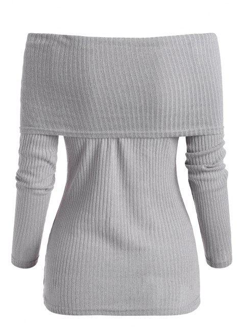 shops Foldover Off Shoulder Ribbed Slim Sweater - LIGHT GRAY XL Mobile