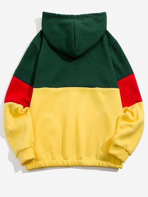 trendy Quarter Zip Contrast Fleece Hoodie - DEEP GREEN L Mobile